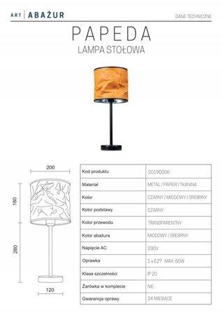 LAMPA STOŁOWA KOLOR BEŻOWY/SREBRNY