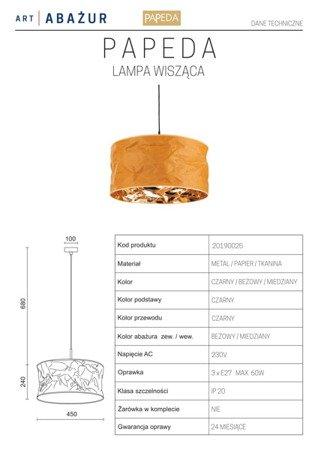 LAMPA WISZĄCA KOLOR BEŻOWY/MIEDŹ